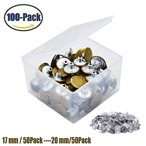 - 100 Pack jeans Buttons Metal Tack Buttons Replacement Kit 17mm/20mm Button Studs by FENGWANGLI