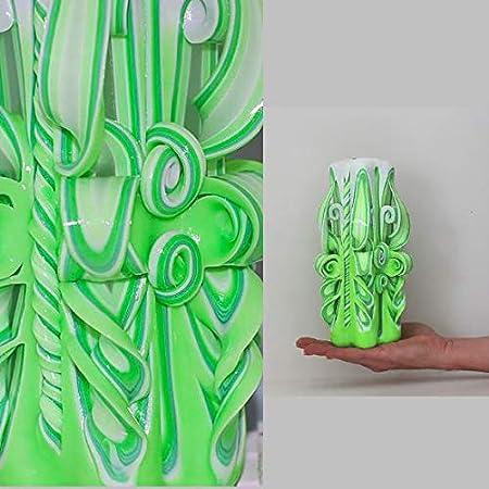 Vela grande verde blanco 20 cm Regalo Cumpleaños Boda vela ...