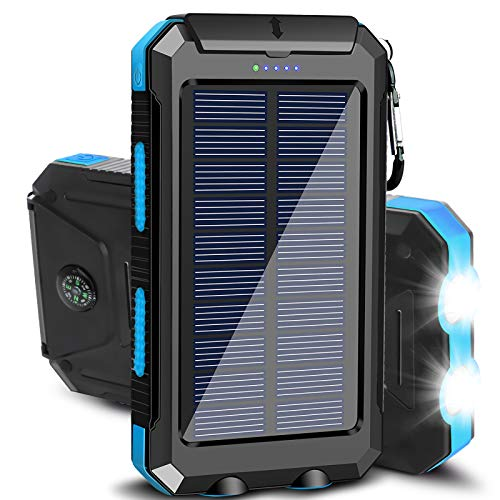 Solar Charger, 20000mAh Solar Power Bank Portable Chargers for Cell Phone External Battery Charger with Dual 2 USB Port/LED Light Backup Battery Pack