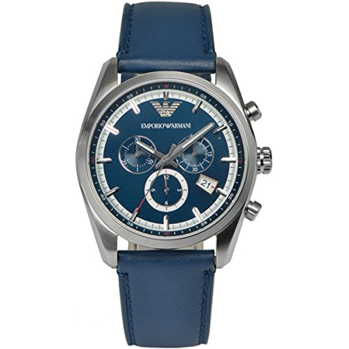 Emporio Armani Unisex Chronograph Blue Leather Strap Watch 43mm AR6041
