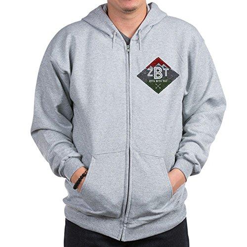 CafePress Zeta Beta Tau Mountains Diamonds Sweatshirt Zip Hoodie, Classic Hooded Sweatshirt with Metal Zipper Heather Grey