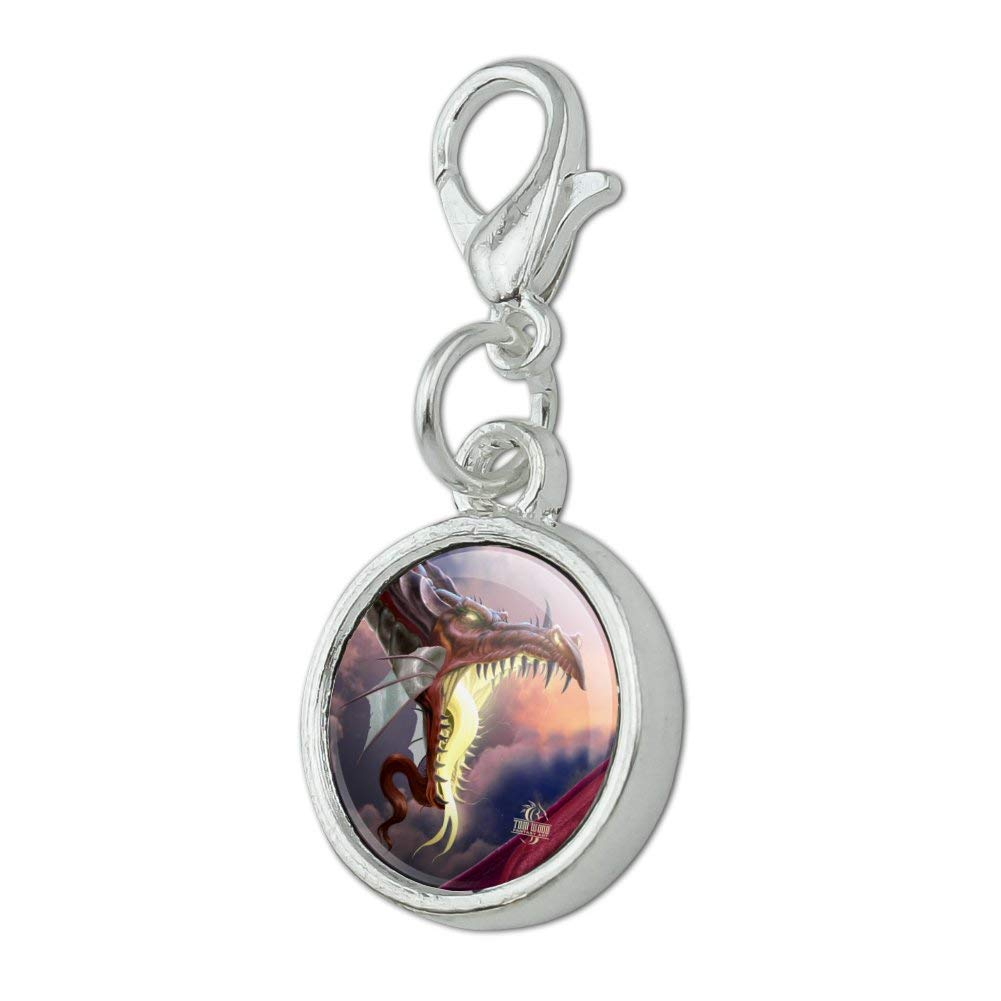 GRAPHICS /& MORE Fantasy Fire Breathing Dragon Flame On Antiqued Bracelet Pendant Zipper Pull Charm with Lobster Clasp