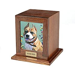 Custom Personalized Engraved Photo Frame Pet Urn for Cats / Dogs Ashes Memorial Wood (Medium)