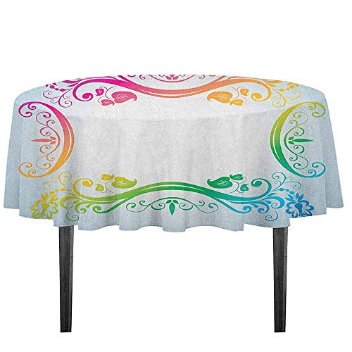 (kangkaishi Vintage Rainbow Waterproof Anti-Wrinkle no Pollution Victorian Style Swirls Flowers and Foliage Leaves Colorful Classic Motifs Outdoor Picnic D43.3 Inch Multicolor)