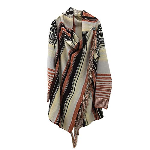 Alimao Womens Fashion Patchwork Long Sleeve Gradient Fringe Cardigan Tops Sweater Coat Coffee