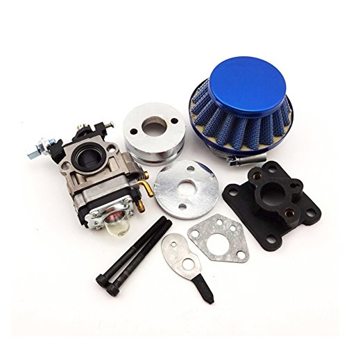 TC-Motor Blue 15mm Racing Carburetor Kit Carb Air Filter Stack For 47cc 49cc 2 Stroke Mini ATV Quad Dirt Pocket Bike
