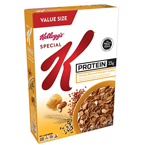 Special K Breakfast Cereal, Honey Almond Ancient Grains, A Good Source of 9 Vitamins & Minerals, Value Size, 17.1 oz Box, 8Count (K Protein Cereal Special)