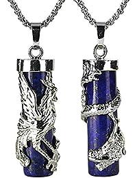 Couples Necklace 2pcs Dragon Phoenix Wrapped Column Gemstone Pendant Necklaces for Lover