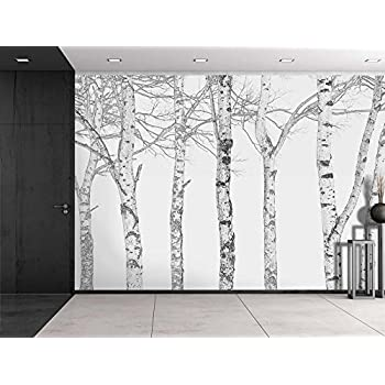 Wall26   Black And White Outline Of Aspen Trees   Wall Mural, Removable  Sticker, Part 74