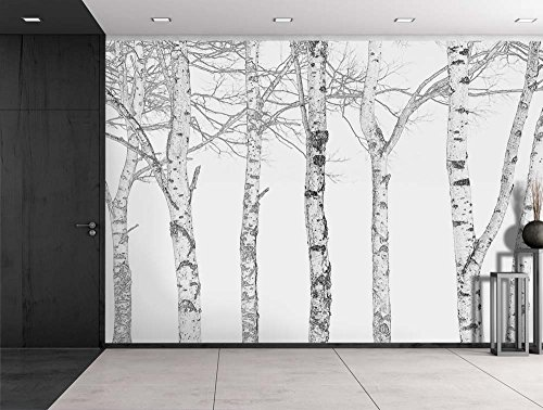 Wall26 – Black and White Outline of Aspen Trees – Wall Mural, Removable Sticker, Home Decor – 100×144 inches