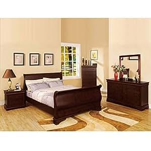 Laurelle Classic Cottage Style Dark Cherry Finish Queen Size 6 Piece Bedroom Set