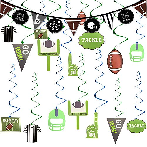 EVERMARKET Football Game Day Party Decorations 2019,Garland Sports Day 30Ct Hanging Swirl Foils and Banner, Football Theme Birthday Party Supplies Ornaments]()