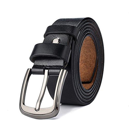 """VRLEGEND Men Dress Belt Jeans Casual Belt Genuine Leather Adjustable Up to 63"""" for Big & Tall (Black)"""