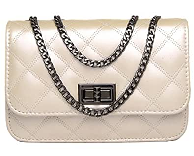 Urban CoCo Quilted Classic Single Flap Cross Body Messenger Shoulder Purse Bag Chain Strap (beige)