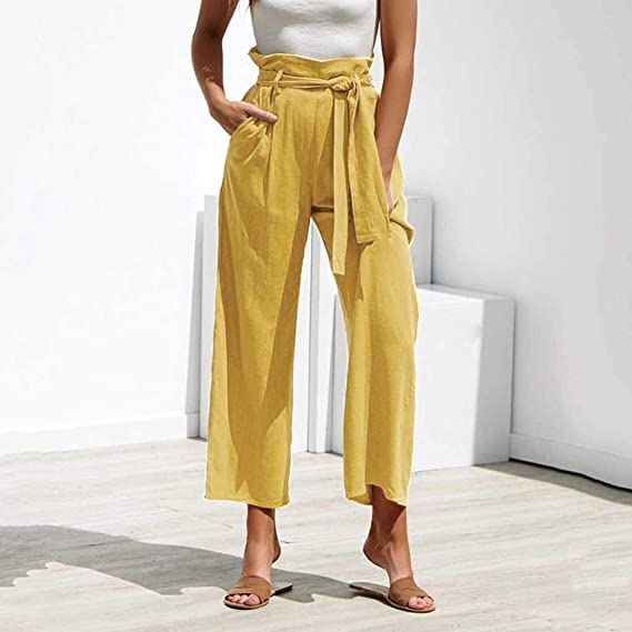 Amazon.com: YKARITIANNA Plus Size Wide Leg Pleated Palazzo Pants for Women - Loose Belted High Waist