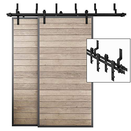 EaseLife 8 FT Bypass Double Door Sliding Barn Door Hardware Track Kit,Heavy Duty,Ultra Hard Sturdy,Slide Smoothly Quietly (8FT Track Double Door Bypass Kit) ()