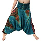 RaanPahMuang Smock Waist Rayon Aladdin Harem Baggy Pants in Mixed Artworks