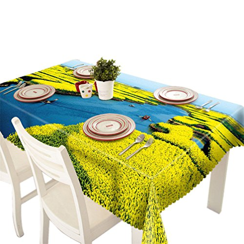 Gotd Color Dining Multi Functional Table Cloth for Party Picnic Table Cloth Indoor Outdoor Decratioon (Rape Flower)