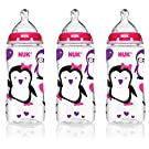 NUK 14099 Pink Penguins Baby Bottle with Perfect Fit Nipples, 10 Ounces, 3-Pack
