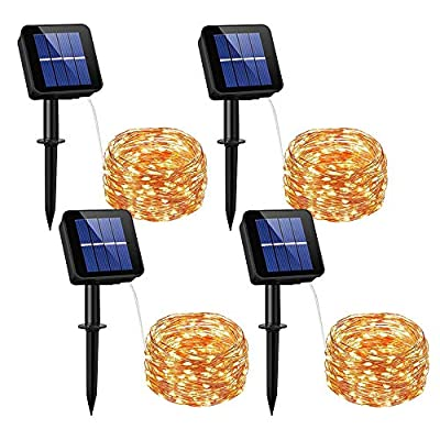 DREAM MASTER Solar Powered String Lights, 33ft 100LED Outdoor String Lights,Starry String Lights,Waterproof Decorative String Lights for Patio, Garden, Gate, Yard, Party,1pac,2pack,4pac