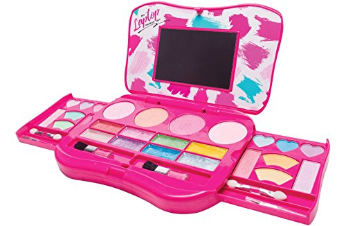 My First Makeup Set, Girls Makeup Kit, Fold Out Makeup Palette with Mirror and Secure Close - Safety Tested- Non Toxic (Laptop Design) -