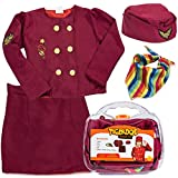 Stewardess costume for kids comes in a rich burgundy color with multi-colored scarf to bring some flight flair to your little one.