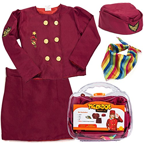 Costumes Flight Attendant Accessories (Flight Attendant Costume for Kids - Stewardess Costume with Case - Dress Up - Pretend Play by)