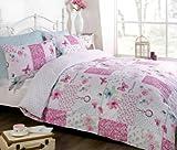 Art Dream Patchwork Duvet Cover Quilt Bedding Set, Pink, Double (Flowers & Butterflies)