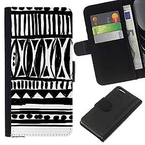 Apple iPhone 5C Modelo colorido cuero carpeta tirón caso cubierta piel Holster Funda protección - Drawn Ink Art White Black Chevron