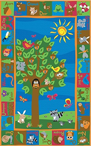 Kid Carpet FE722-34A Forest Nylon Area Rug with Animal Alphabet, 6' x 8'6
