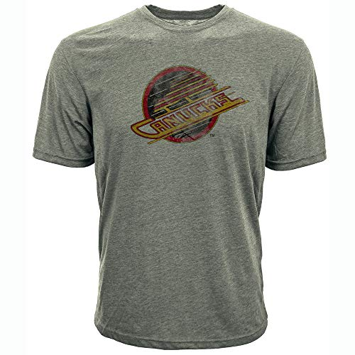 Levelwear NHL Vancouver Canucks Mens Richmond Vintage Distressed Tee, Steel Grey, Small