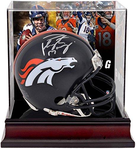 Peyton Manning Denver Broncos Autographed Riddell Mini Helmet with Deluxe Mini Helmet Case - Fanatics Authentic Certified