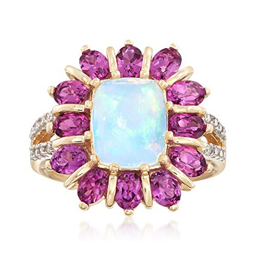 (Ross-Simons Opal and 2.60 ct. t.w. Rhodolite Garnet Ring With Diamond Accents in 14kt Yellow Gold)