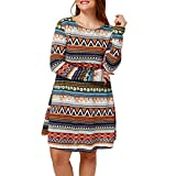 Tootu Women Plus Size Retro Printed Evening Party Casual Long Sleeve Dress (XXXL, Red)