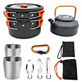 sunsnow 10 Pcs Camping Cookware Mess Kit Lightweight Pot Pan Kettle with 2 Cups Fork Knife Spoon Kit for Backpacking Outdoor Camping Hiking and Picnic (Orange)