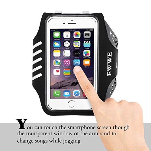 EWWE Water Resistant Sports Armband Arm Case Holder 5.5 inch iPhone 8/7/6/6S Plus, Galaxy S9/S8/S6/S5, S9 Plus, S8 Plus, Note 4 Bundle - Adjustable Reflective Velcro Workout Band, Screen Protector by EWWE (Image #1)