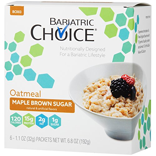 Bariatric Choice High Protein Oatmeal / Instant Low-Carb Hot Oatmeal Diet Cereal - Maple Brown Sugar (6 Servings/Box) - Low Fat, Low Carb, Cholesterol Free