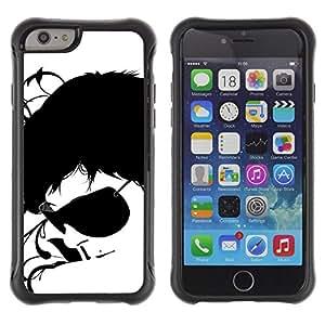 All-Round híbrido Heavy Duty de goma duro caso cubierta protectora Accesorio Generación-II BY RAYDREAMMM - Apple iPhone 6 - Sunglasses Black White Art Portrait Man Face