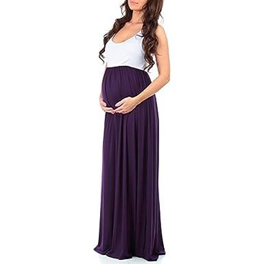 9293388023d12 Womens Sleeveless Maxi Maternity Dress Casual Ruffled Color Block Tank Dress  (S, Eggplant)
