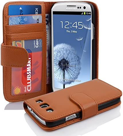 Cadorabo Book Case Works with Samsung Galaxy S3 S3 NEO in Cognac Brown – with Magnetic Closure and 3 Card Slots – Wallet Etui Cover Pouch PU Leather