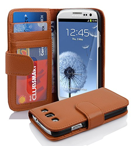 Galaxy Flip Case S3 - Cadorabo Book Case Works with Samsung Galaxy S3 / S3 NEO in Cognac Brown - with Magnetic Closure and 3 Card Slots - Wallet Etui Cover Pouch PU Leather Flip