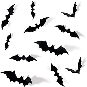 Coogam 60PCS Halloween 3D Bats Decoration, 4 Different Sizes Realistic PVC Scary Bat Sticker for Home Decor DIY Window Decal Bathroom Indoor Hallowmas Party Supplies