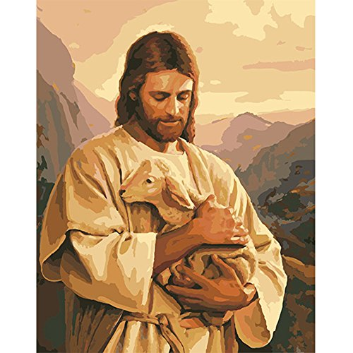 LICSE Paint by Number Kits Oil on Canvas Art Paintings for Wall Christ Father's Love