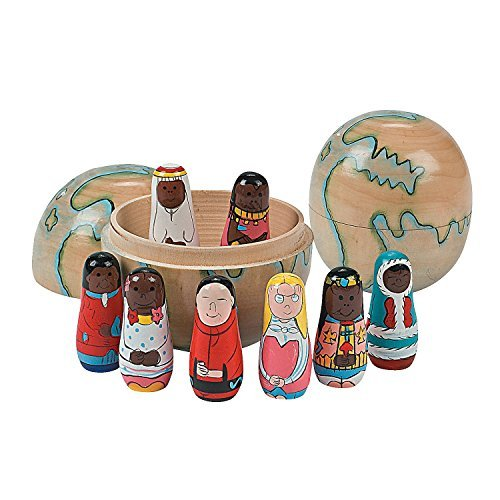 Nesting Wooden World Globe with 8 Multicultural Dolls