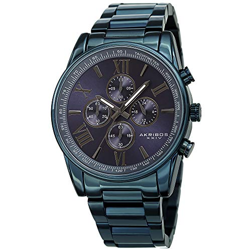 Akribos XXIV Men's Chronograph Watch - 4 Subdials Multifunction Complications with Tachymeter on Heavy Stainless Steel Blue Bracelet Watch - AK1072 (Blue)