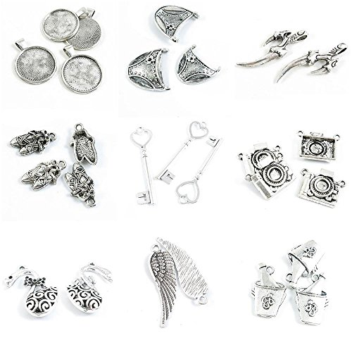 g Charms Wine Ice Bucket Angel Wing Hollow Swan Goose Camera Love Heart Key Ballet Shoes ()