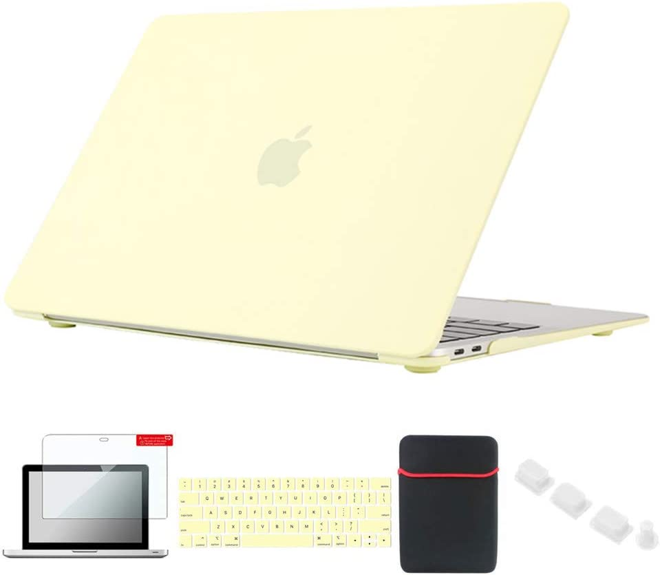 Se7enline MacBook Pro Case 13 inch 2019/2018/2017/2016 Hard Cover Compatible with MacBook Pro A1706/A1989/A2159 with Touch Bar with Sleeve, Keyboard Skin, Screen Protector,Dust Plug, Mellow Yellow