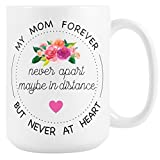 Long Distance Mug for Mom, Large 15 oz Ceramic Coffee Mug, Gift for Mom