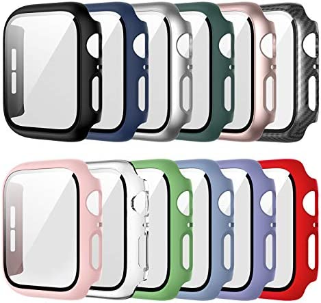12 Pack Case Compatible for Apple Watch 40mm Series 6/5/4/SE with Tempered Glass Screen Protector, Haojavo Full Hard Ultra-Thin Scratch Resistant Bumper Protective Cover for iWatch Accessories