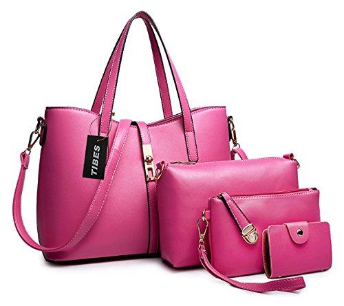 Tibes Bolso de cuero de la PU de la PU de las mujeres de la manera + bolso de hombro + monedero + sostenedor determinado de la tarjeta 4pcs Rosa Rosa